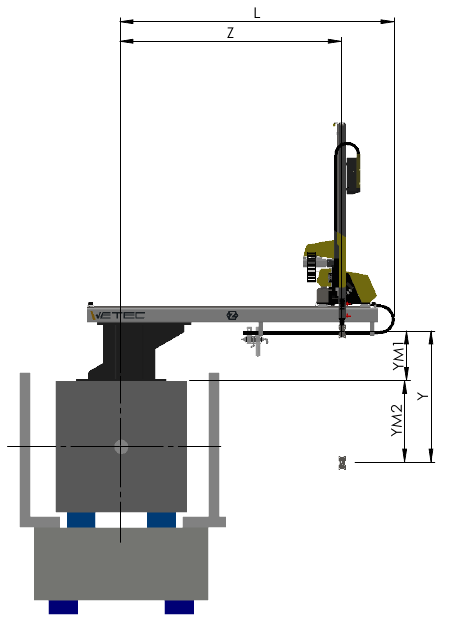 A side view, technical drawing of the W63S robot
